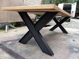 table industrielle. table industriel pied ipn et chêne sue mesure industrielle