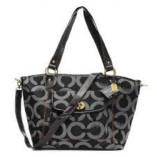 Coach Logo Signature Lock Medium Black Totes EHS