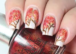 nail designs for fall 2014. autumn tree nail art designs for fall 2014