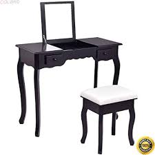 colibrox vanity dressing table set mirrored bathroom furniture w stool table desk black