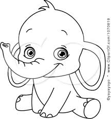 Small Picture Image detail for Clipart Outlined Sitting Baby Elephant Royalty