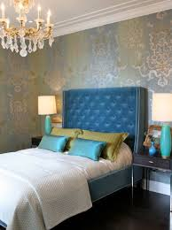Blue Gets Glamorous. Glamorous Bedroom With Chandelier