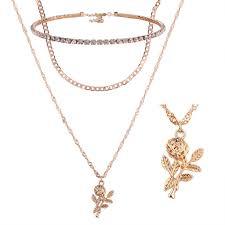 unique gold choker double chain flower pendant rhinestone choker necklace sets