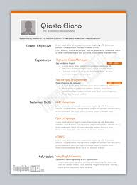sample resume and cv templates resume sample information resume and cv template sample for php wordpress programmer experience