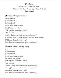 Sample Salary History Easy Concept Resume With Printable Helendearest