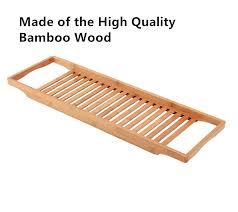 new design bathroom organization luxury durable bamboo bathtub tray bath tub wine candle holder reading rack bathtub bamboo bath tray