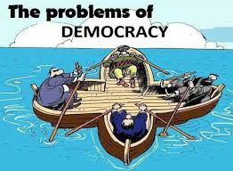 advantages and disadvantages of democratic leadership cartoon democracy problems illustration 4 people sitting in the same boat but rowing in a other