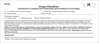 portion of the life policy request letter showing the change of beneficiary form