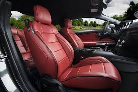 katzkin ford mustang red leather seats low angle ford mustang