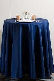navy round tablecloth linen 120