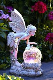 solar lawn ornaments garden statue fairy with globe powered outdoor patio decor statues and solar lawn ornaments garden