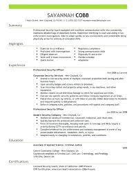 Sample Security Officer Resume Security Officer Resume Security Guard Cover Letter With Experience