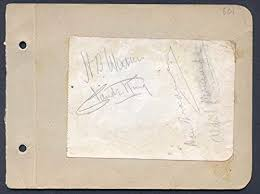 """Henry Byron""""H. B."""" Warner - Signature co-signed by: A. V. Bramble, Claude  King, Don Bradman at Amazon's Entertainment Collectibles Store"""