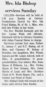 Obituary for Ida Roxanne Floyd Bishop - Newspapers.com
