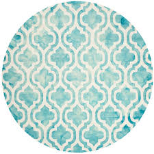 safavieh dip dye turquoise ivory 5 ft x 5 ft round area rug