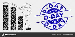 Vector Pixel Euro Crisis Chart Icon And Scratched D Day Seal