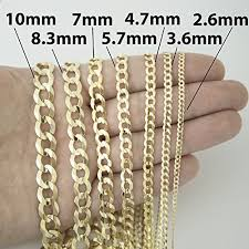 Unisex Solid 10k Yellow Gold Comfort Cuban Curb Chain Necklace