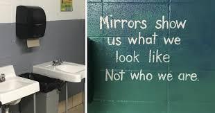 middle school bathroom. Nurse Turns Middle School Bathroom Into An Inspiring Work Of Art