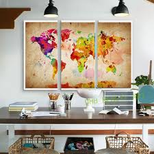 Paintings For Living Room Wall 3 Pieces Canvas Wall Art Canvas Painting World Watercolor Map