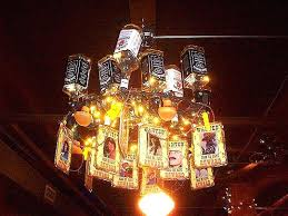 whiskey bottle chandelier whiskey bottle chandelier dining room lunch fairly bright group