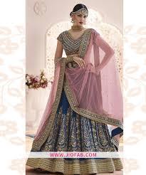 Designer Net Dupatta Online Bangalory Silk Blue Partywear Designer Lehenga With Soft Net Dupatta