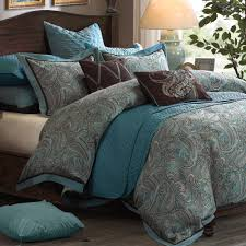 brown and turquoise bedding white bed