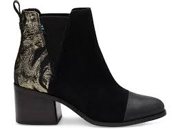 Designer Black Suede Boots Black Suede And Floral Metallic Jaquard Mix Womens Esme