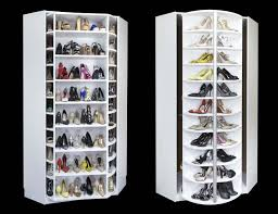 front and back sides of the 360 organizer shoe spinner shoes closet
