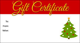 christmas certificates templates gift template select a gift certificate template to customize