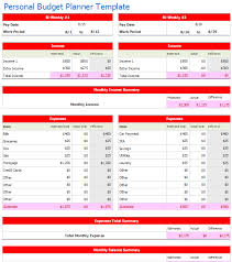 Personal Weekly Budget Templates Bi Weekly Personal Budget Planner Template