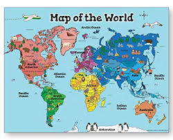 World Map Posters World Map Poster For Kids 18x24 World Map Laminated Ideal World Map For Kids Home Or Classroom Posters
