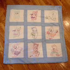 Shop Baby Quilt Blocks on Wanelo & Vintage baby quilt playmat Vintage handmade cotton quilt blocks / hand  embroidered quilt Blue & white Adamdwight.com