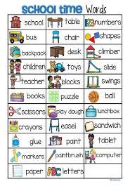 Back to School Vocabulary List 32 Words and Pictures FREE | Kindergarten  vocabulary, Preschool writing, Preschool word walls
