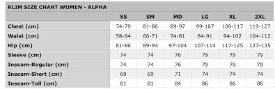 Klim Size Chart Women Bartang