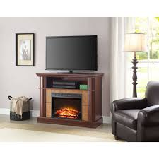 southern enterprises jackson media electric fireplace console with faux stone for tv apos s up to 46 sienna com