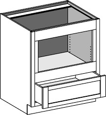base built in under counter microwave cabinet