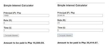 simple interest rate calculator in javascript by jake r pomperada
