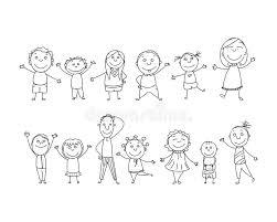 Bambini Allegri Dipinti Dalle Matite Variopinte Con Gli Elementi Dei