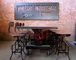 iron industrial furniture. fancy metal and wooden table chair on vintage industrial iron furniture u
