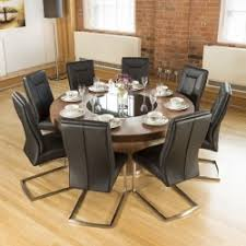 luxury large round walnut dining table lazy susan 8 vine blk chairs