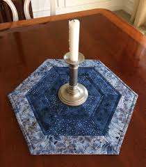 2799 best Mug Rugs Galore images on Pinterest | Cushions, DIY and ... & Silver & Blue Quilted Hexagon Table Runner Candle Mat by seaquilt Adamdwight.com