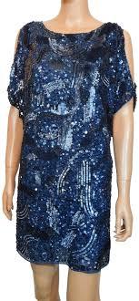 Aidan Mattox Blue Sequin Cold Shoulder Short Cocktail Dress Size 0 Xs