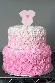 Pink Ombre Rosette Baby Shower Cake | Shower cakes, Rosettes and Ombre