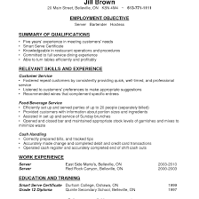 Ideas Of Server Resume Sample Bartender Resume Sample Waitress