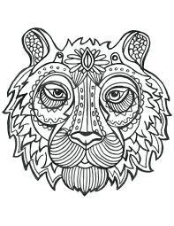 Coloriage De Animaux Tete De Tigre Imprimer Mandala Adult