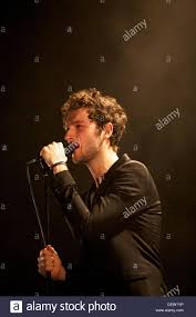 French singer Simon Buret from the band AaRON in concert in Cannes ...
