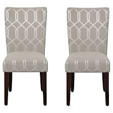 homepop pewter grey cream lattice elegance parson chairs set of