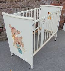 vintage pedigree 1960s wooden wood baby children s cot portable crib white cream vintage cot