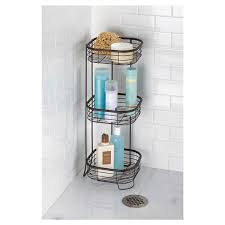 interdesign forma free standing bathroom or shower storage shelves for towels soap shampoo lotion accessories 3 tier bronze bath storage meijer