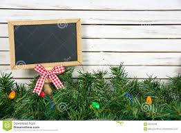 Chalkboard With Lights Black Chalkboard In Christmas Pine And Lights Stock Image
